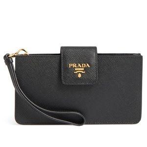 Prada Red Saffiano Leather Phone Holder Bag